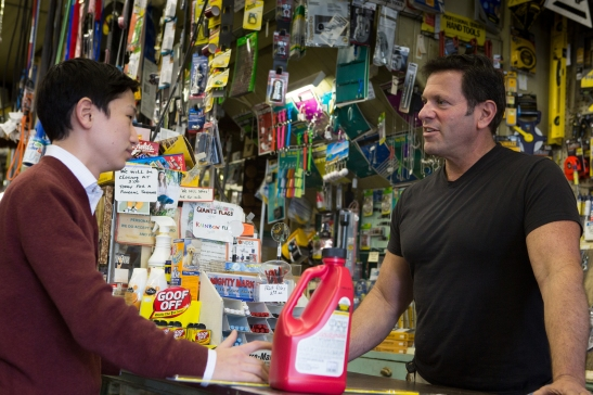 Jacob Chang (lefts) visits with proprietor Vince Morenzo at the popular G Mazzei & Sons hardware store. (Photo by Khaled Sayed/Bay News Rising)